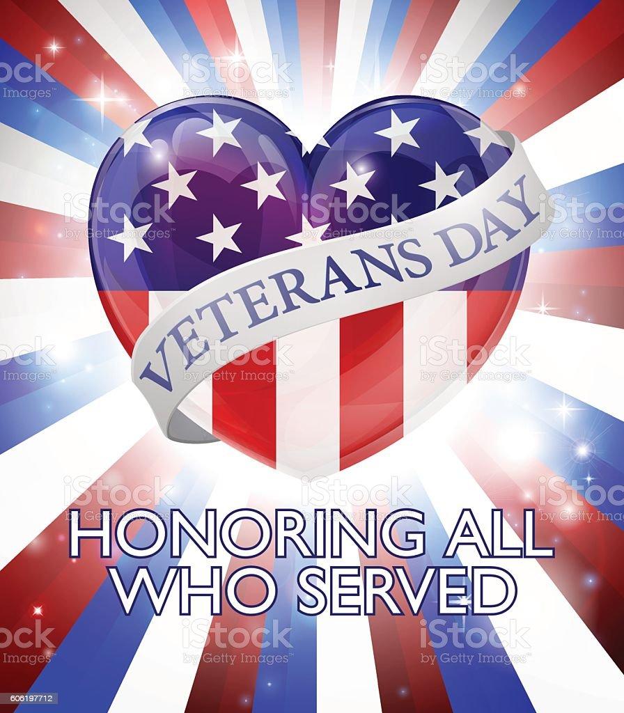 Veterans Day Heart Design vector art illustration