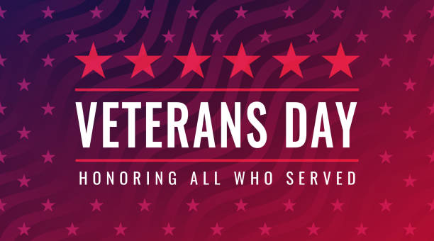 veterans day - honoring all who served greeting card - veterans day stock illustrations