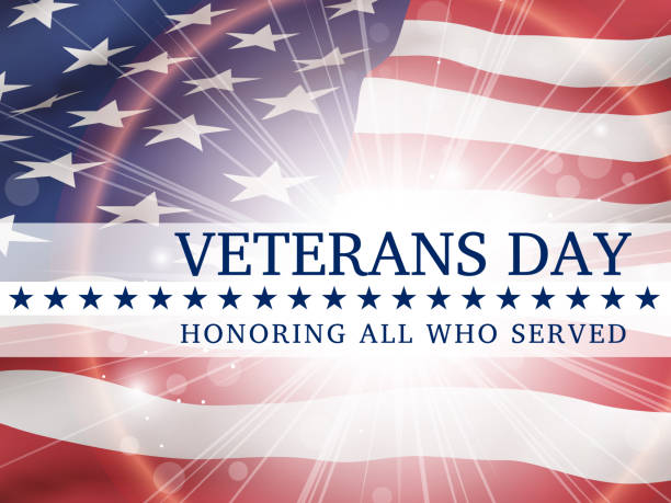 veterans day, honoring all who served - poster with the flag of the united states of america - veterans day stock illustrations