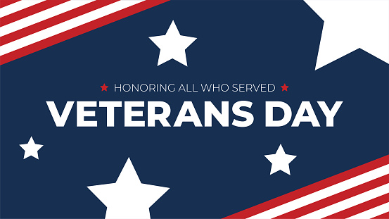 Veterans Day Honoring All Who Served Typography with American Flag Border and Stars, Patriotic Holiday Vector Illustration