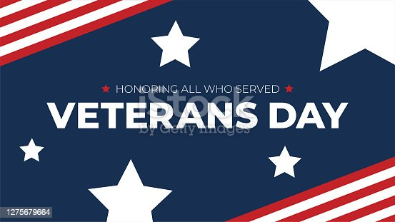 istock Veterans Day Honoring All Who Served Typography with American Flag Border and Stars, Patriotic Holiday Vector Illustration 1275679664