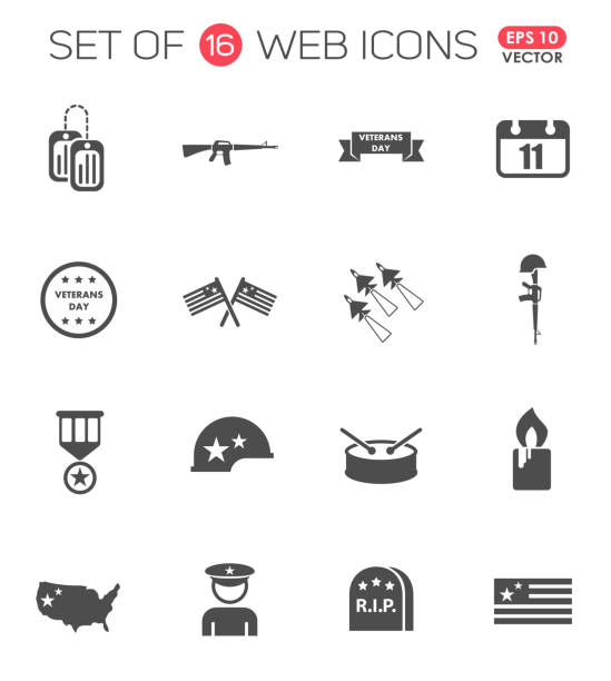 veterans day icon set. veterans day web icons for your project - military stock illustrations