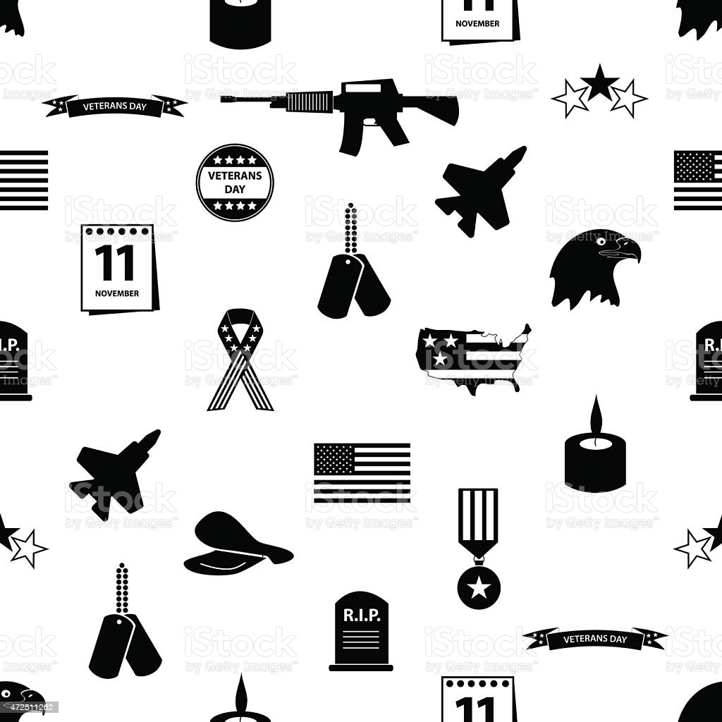 Veterans Day icons in black on a white background vector art illustration