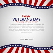 Veterans Day in the USA on November 11 Colors of the national flag of United States of America Stars and the red and white stripes of the flag USA Patriotic Template on the holiday Background Vector