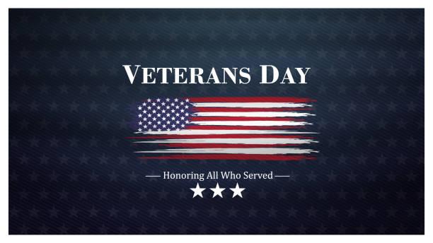 veterans day, november 11, honoring all who served, posters, modern brush design vector illustration - veterans day stock illustrations