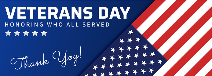 USA Veterans day, November 11th. Blue banner with American flag.