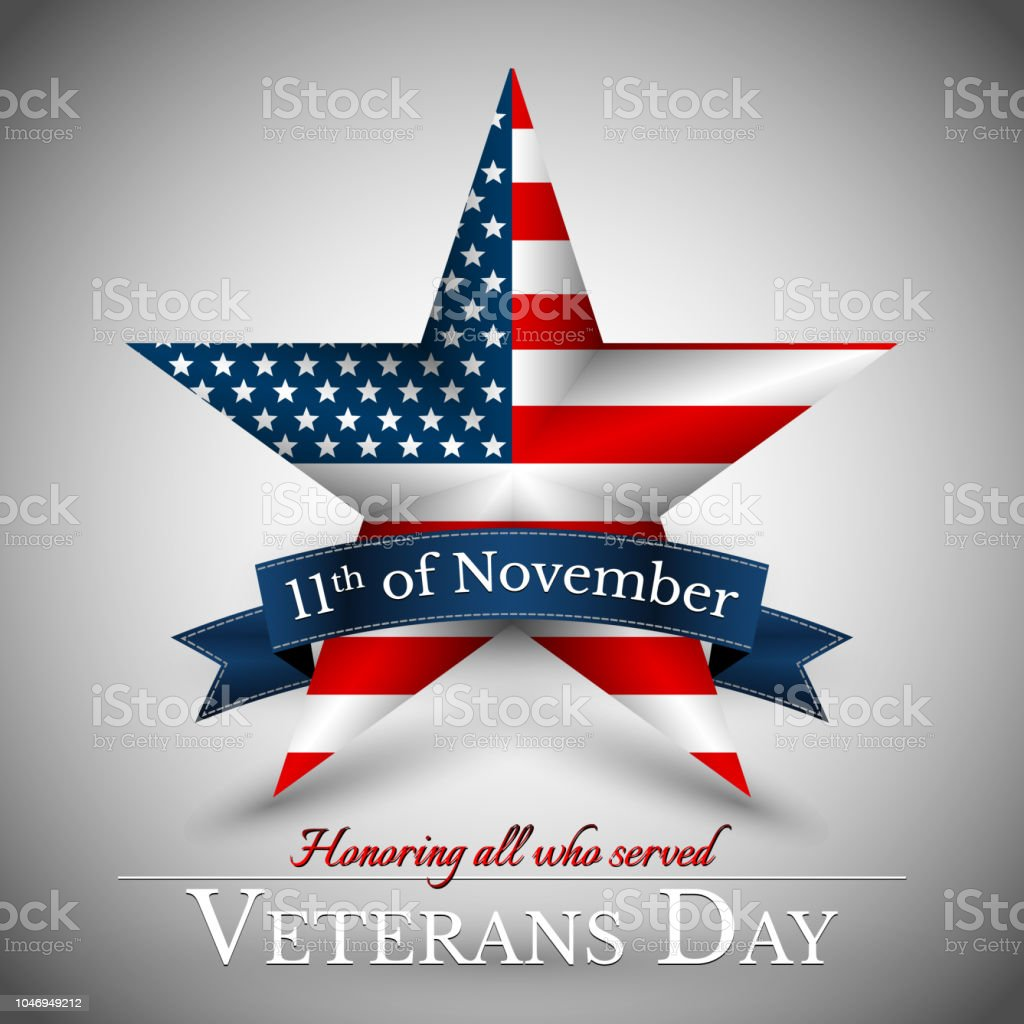 Veterans Day Of Usa With Star In National Flag Colors American Flag