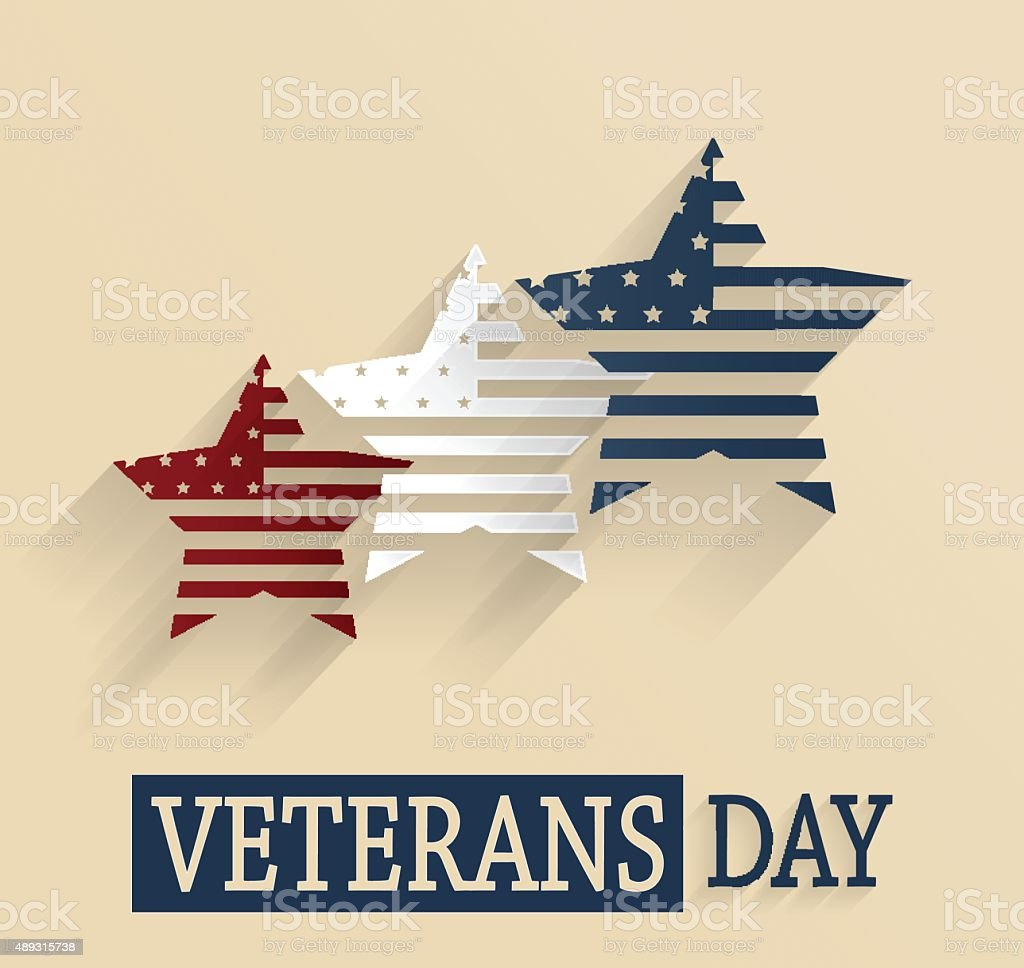 Veterans Day poster. Red, white and blue stars. Vector illustration....