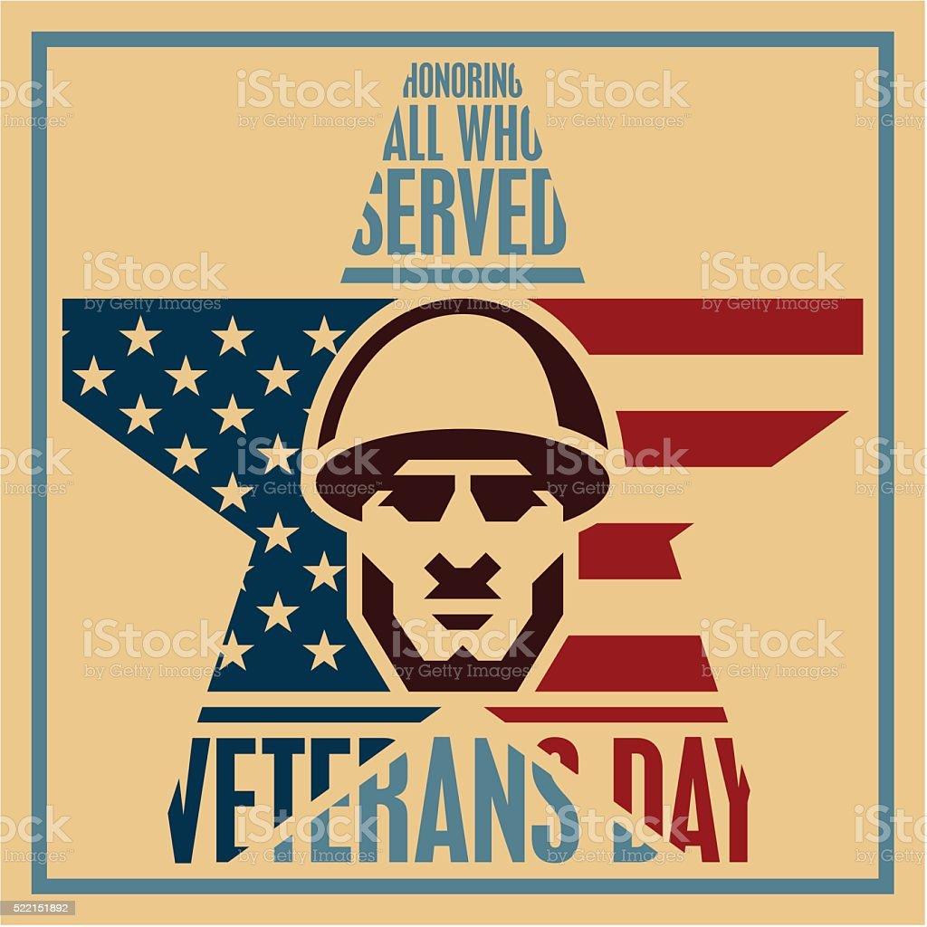 Veterans day poster, Soldier icon vector art illustration