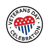 Veterans day round stamp