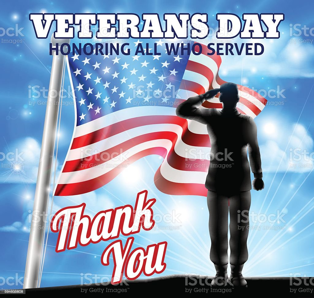 Veterans Day Silhouette Soldier Saluting American Flag vector art illustration