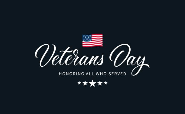 """veterans day text with lettering """"honoring all who served"""". - veterans day stock illustrations"""
