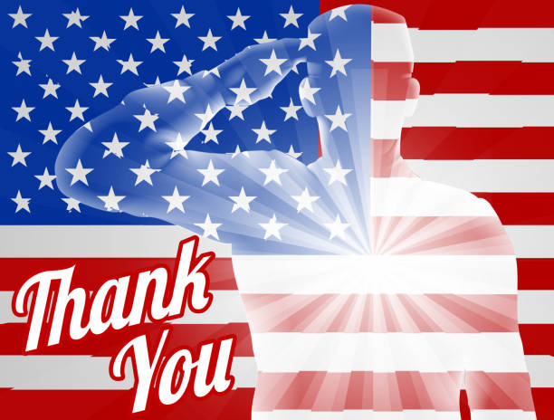 veterans day thank you american flag - fourth of july stock illustrations