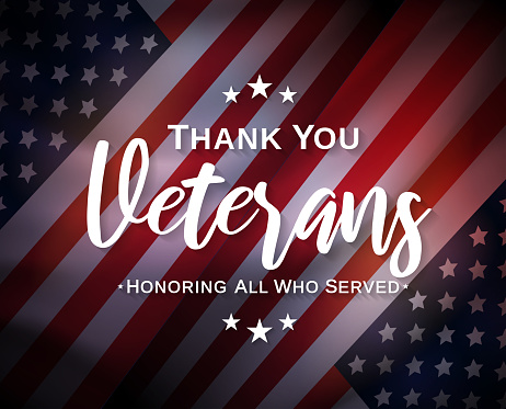 Veterans Day, thank you, poster. Honoring all who served. Vector