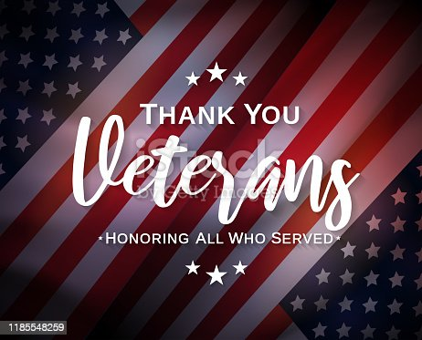 istock Veterans Day, thank you, poster. Honoring all who served. Vector 1185548259