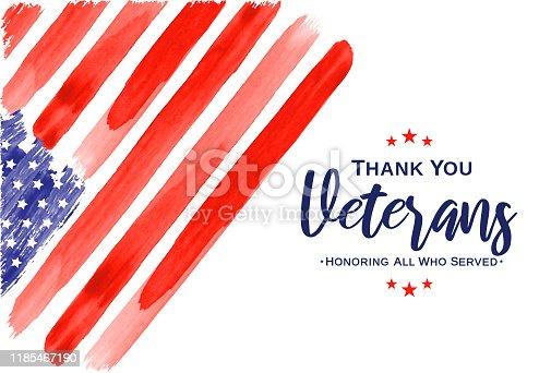 Veterans Day. Thank You Veterans. Watercolor USA flag. Vector illustration. EPS10
