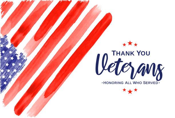 veterans day. thank you veterans. watercolor usa flag. vector - veterans day stock illustrations