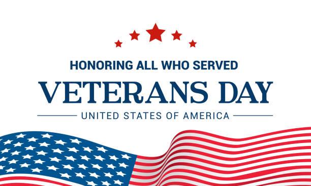 veterans day vector illustration, honoring all who served, usa flag waving on white background. - veterans day stock illustrations