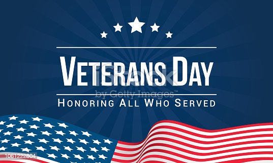 Veterans Day Vector illustration, Honoring all who served, USA flag waving on blue background.