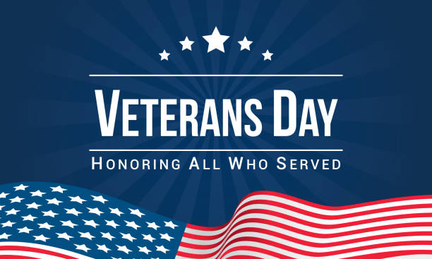 veterans day vector illustration, honoring all who served, usa flag waving on blue background. - american flag stock illustrations