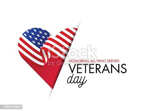 istock Veterans Day Vector illustration, Honoring all who served, USA flag waving on blue background. stock illustration 1265040852