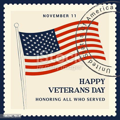 Veterans Day Vector illustration, Honoring all who served with USA flag waving. postage stamp concept.