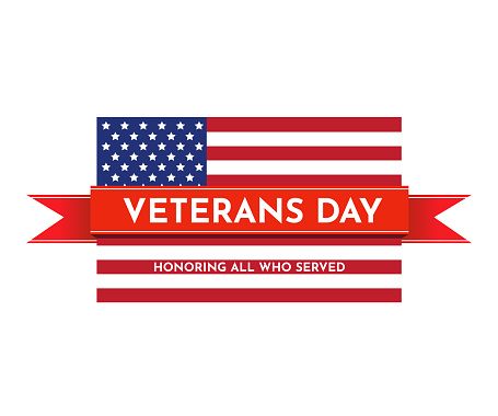 Veterans Day with USA flag. Vector