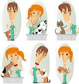 veterinary surgeon, veterinarian, or vet cartoon action set.