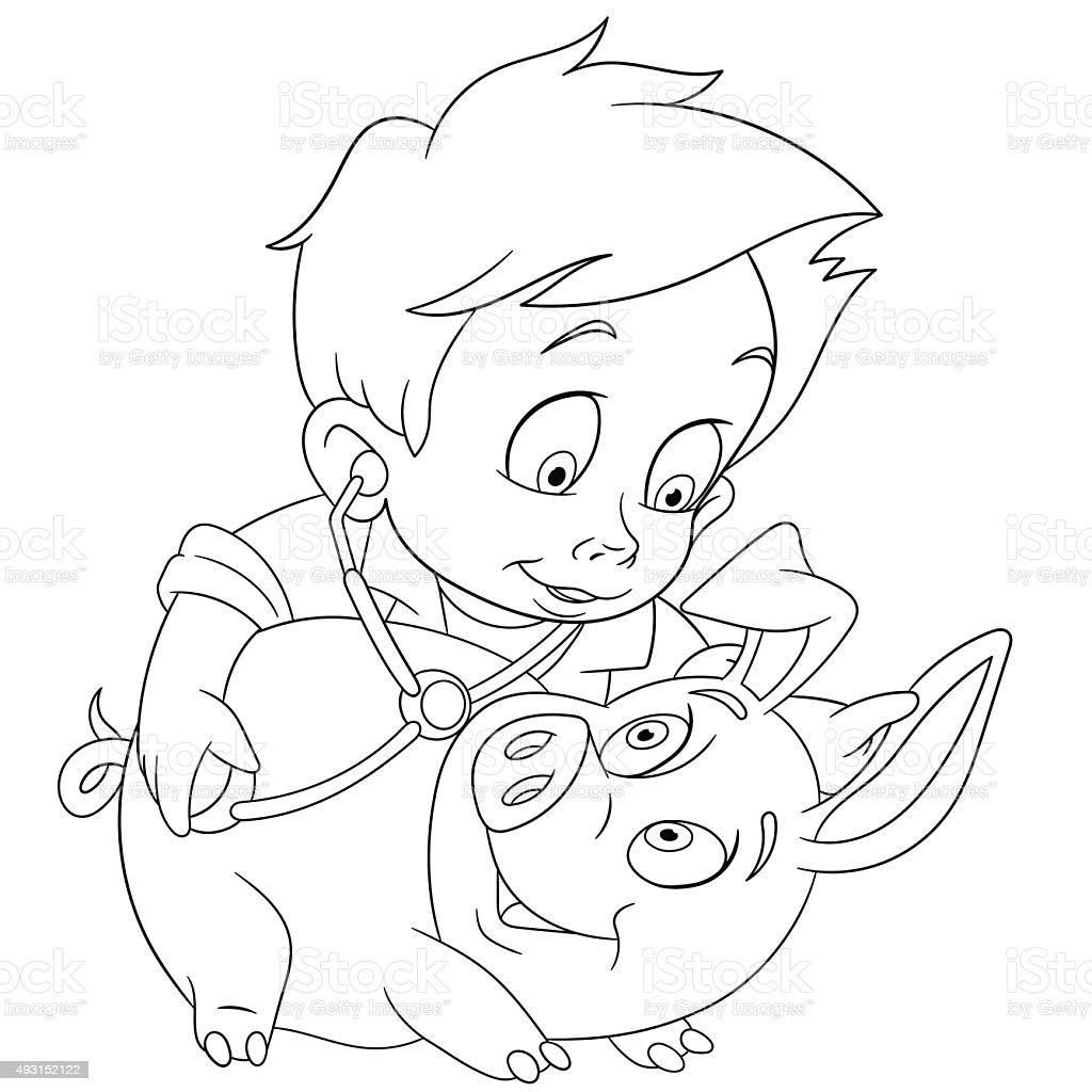Veterinario Y Cerdo Illustracion Libre de Derechos 493152122 | iStock