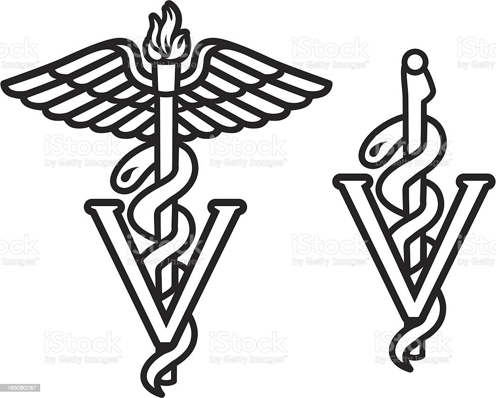 Veterinario caduceo - ilustración de arte vectorial