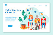 Veterinarian clinic landing page layout. People with pets in vet clinic flat illustration. Woman holding cat, senior man with injured dog, boy with rat sitting in hospital waiting room.