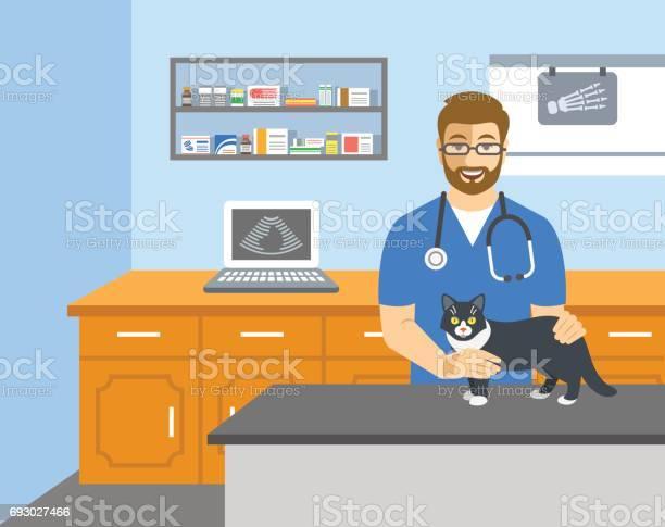 Veterinarian doctor holds cat on examination table vector id693027466?b=1&k=6&m=693027466&s=612x612&h=nysnsqknjsziyasg2q6xyc2rcnervlk2h529ittng3u=