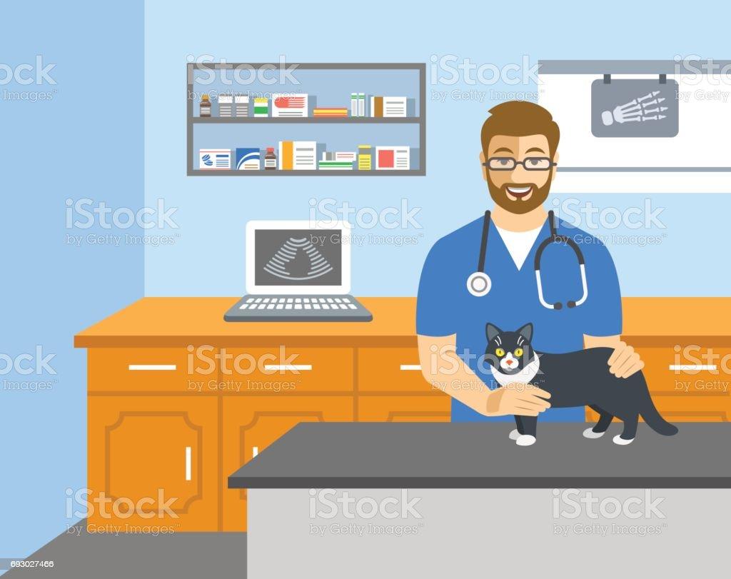 Médico veterinario tiene gato en mesa de examen - ilustración de arte vectorial
