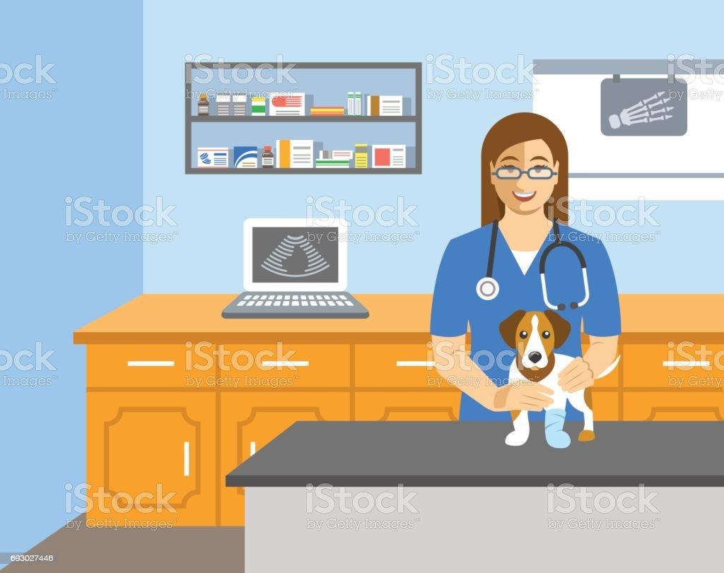 Médico veterinario tiene perro en mesa de examen - ilustración de arte vectorial