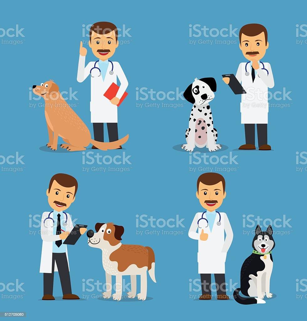 Veterinario médico con perros - ilustración de arte vectorial