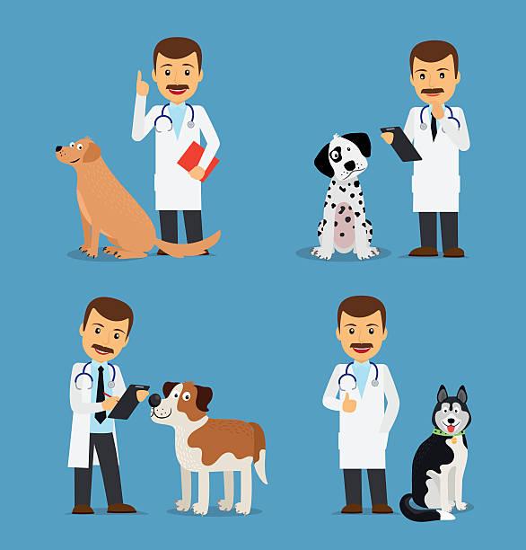 veterinarian doctor with dogs - veterinarian stock illustrations, clip art, cartoons, & icons