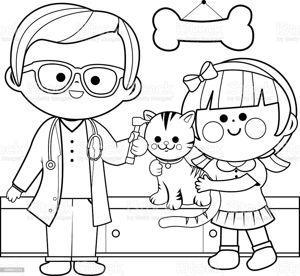 Uncategorized Veterinarian Coloring Pages veterinarian examining a cat coloring book page stock vector art royalty free art