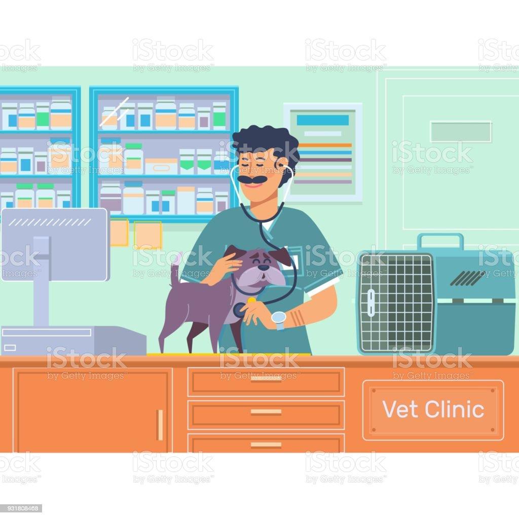 Veterinario examinando un perro en animal hospital. Médico veterinario mascotas chequeo con estetoscopio. Ilustración de vector - ilustración de arte vectorial