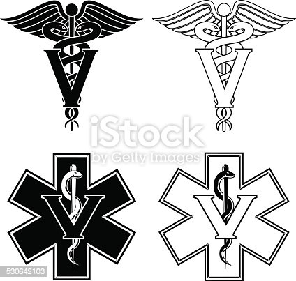 Illustration of two versions of a veterinarian medical symbol. At the top are two veterinarian symbols and at the bottom are two emergency veterinarian symbols.