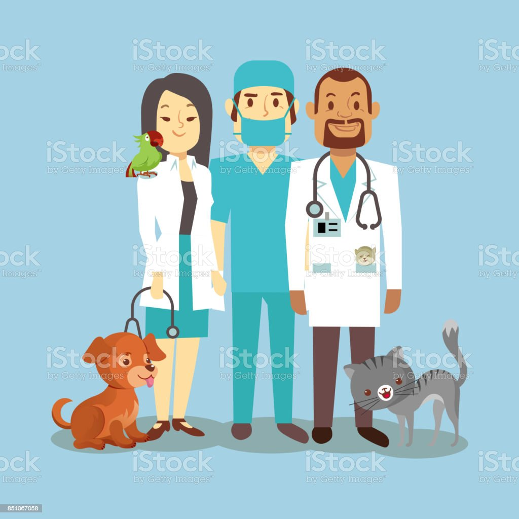 Veterinarian staff with cute pets isolated on blue vector art illustration