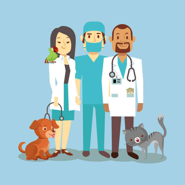 veterinarian staff with cute pets isolated on blue - veterinarian stock illustrations, clip art, cartoons, & icons