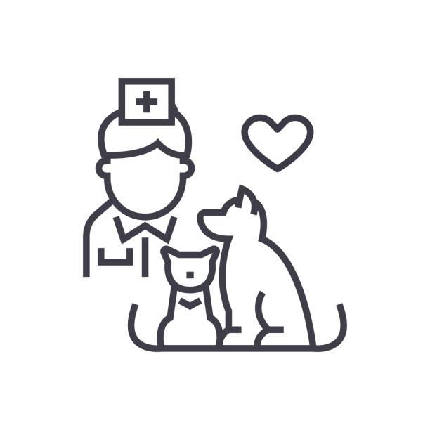 bildbanksillustrationer, clip art samt tecknat material och ikoner med veterinär med hund och katt linjär ikon, tecken, symbolen, vektor på isolerade bakgrund - djursjukhus