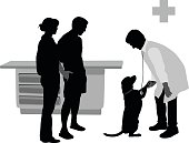 A vector silhouette illustration of a dog visiting the vet. The male doctor leans over to shake hands with the dog standing by the young couple owners.This file is to be used for batch editing. It can contain active and deleted keywords. Pasting this file data will update and delete keywords accordingly.