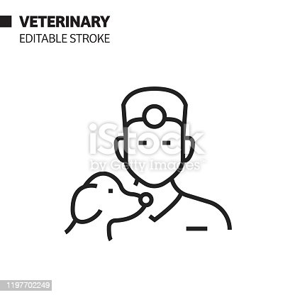 istock Veterinary Avatar Line Icon, Outline Vector Symbol Illustration. Pixel Perfect, Editable Stroke. 1197702249
