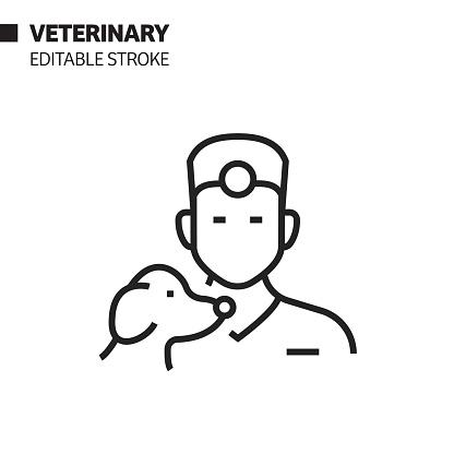 Veterinary Avatar Line Icon, Outline Vector Symbol Illustration. Pixel Perfect, Editable Stroke.