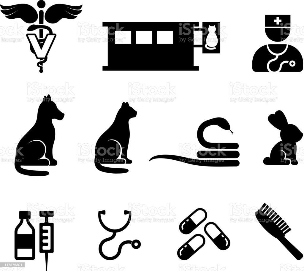 Tierärztliche schwarz und weiß lizenzfreie vektor icon-set – Vektorgrafik