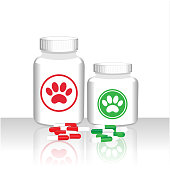 Drugs capsules for animals veterinary care concept poster, jars of medicinal products.