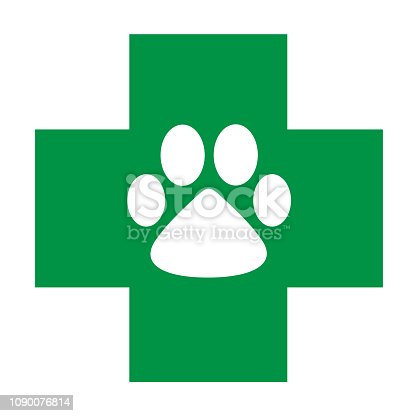 Veterinary care icon green cross with white paw concept symbol isolated on white vector image.