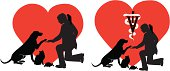 Silhouette of Veterinarian kneeling down to care for animals. Heart in background.