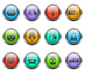 veterinary clinic vector icons on color glass buttons